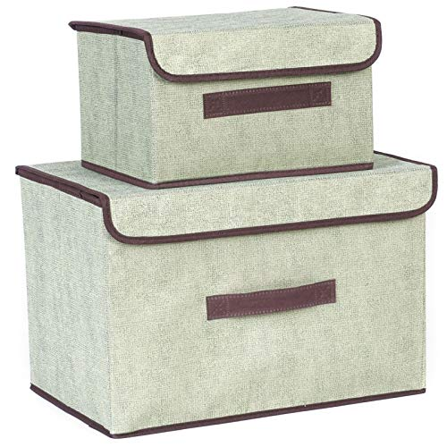 EACHPT cajas de almacenamiento plegables, 2pcs caja de organizador de almacenamiento de tela cajas de almacenaje con tapa y asas para armarios estantes ropa zapatos libros cosméticos juguetes