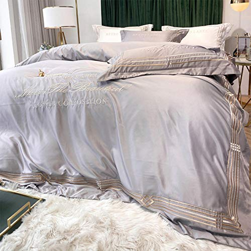Bedding-LZ Juego de edredón Polar Doble,Cama de Seda de Hielo de Verano Regalo de Cama de Cuatro Piezas-S_1,5 m la Cama (4 Piezas)