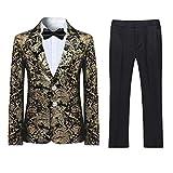 Boyland Boys Jacquard Suit Slim Fit Tuxedo Suits Jacquard Notch Lapel Tux Jacket Pants Party Formal Wear Golden Black