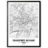 kizibi JUNOMI® Frankfurt Poster XL Schwarz Weiss, DIN A2