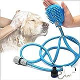 WNZL Herramienta De Baño para Mascotas, con Rociador De Agua, Masaje Ducha para Perros con Cepillo para Gatos, Caballos, Interiores Y Exteriores(con Manguera De Largo Y 2 Adaptadores)