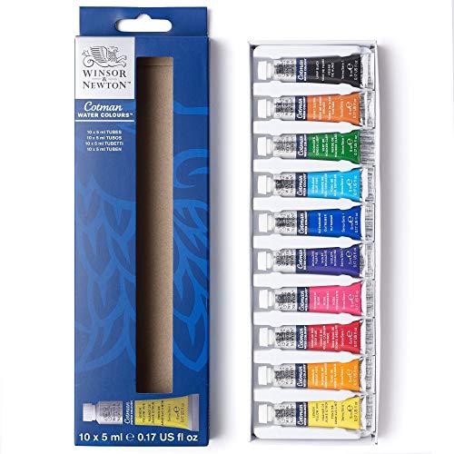 Winsor & Newton 390664 Cotman - Set di colori ad acquerello, 10 colori in tubetti da 5 ml