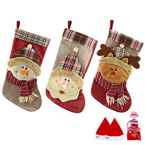 SueH Design Set 3 Pezzi Calza di Natale 48cm | 2 Cappelli di Babbo Natale e 1 Tasca per...