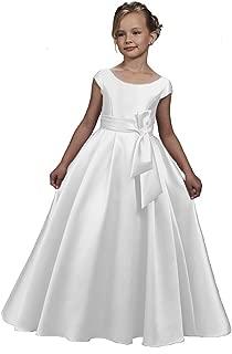 KoKoHouse Satin Cap Sleeves Flower Girl Dress First Communion Ball Gown