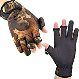 BB Hapeayou Fishing Gloves with 3 Fingerless Gloves Cover fish gloves for Men & Women- Anti-Slip, Windproof, Waterproof Fabric, for Fishing, Cycling, Outdoor Sports (1 Pair) (Camouflage, L)