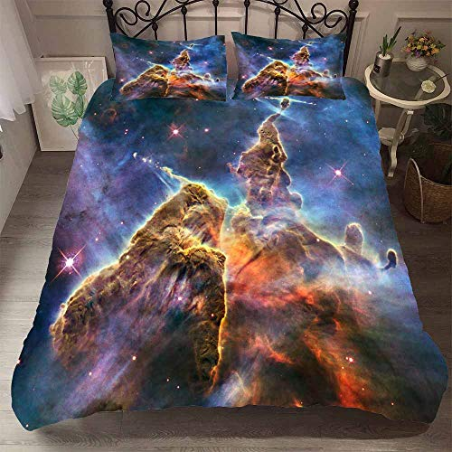 Duvet Cover Set 3 Pieces Bedding Set 3D Galaxy universe Printed Teenager Children Kids Bedding Quilt Cover with Zipper Closure for Bedding Decro, Microfiber Quilt Cover with Pillow Cases (135x200 cm)