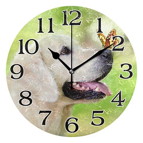 linomo Wanduhr Golden Retriever Hund mit Schmetterling, geräuschlos, Nicht tickend, runde Uhr für Küche, Wohnzimmer, Schlafzimmer, Badezimmer, Büro