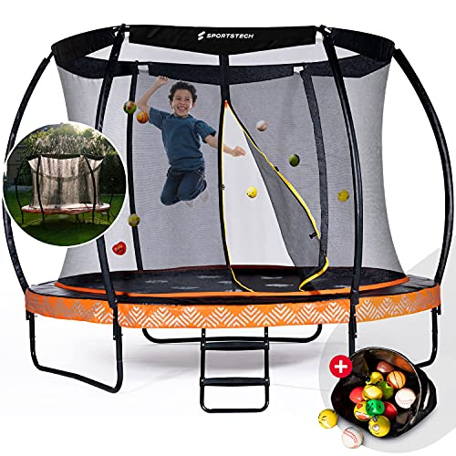 Sportstech Gartentrampolin Marktneuheit HTX500   mit 360° Wassersprinkler + Cooler Sprungmatte   Outdoor Spielzeug Komplettset Trampolin bis 100/120 kg + Sicherheitsnetz   Ø 244/305 cm für Kinder