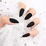 24Pcs 12 Different Sizes Matte Black/Grey/Wine Red Stiletto False Nails Long Full Cover Nails Tips (Black)