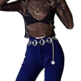 Goth Punk Leather Chain Belt Rock Hip Hop Style Buckles Waist Iron Chain Jewelry