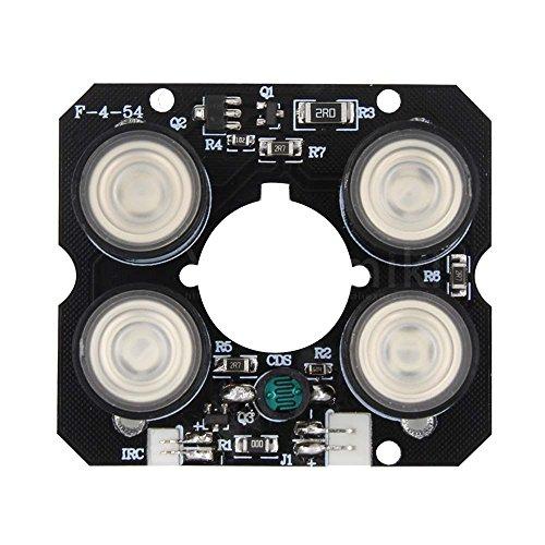 SODIAL 4 Reihen IR fuehrte Scheinwerfer-Infrarot-4x IR LED-Brett fuer ueberwachungskameras Nachtsicht (52mm Durchmesser)