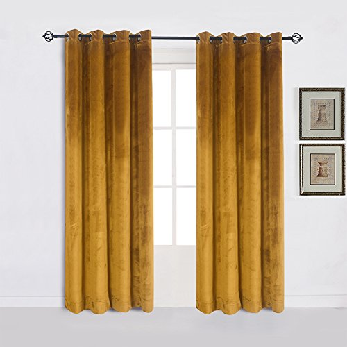 Cherry Home Super Soft Luxury Velvet Set of 2 Warm Yellow Blackout Velvet Energy Efficient Grommet Curtain Panel Drapes Ginger Mustard Curtain Panels 52Wx96L for Living Room