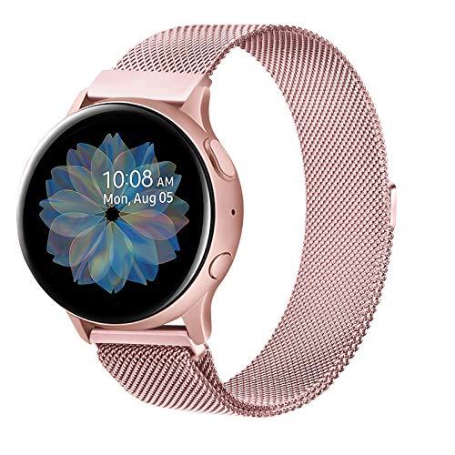 Senka 20mm Metal Correa Compatible con Samsung Galaxy Watch Active 40mm/Active2 40mm 44mm,Pulseras de Repuesto de Inoxidable para Samsung Galaxy Watch 42mm/Watch 3 41mm/Gear Sport(20mm,Rosa)