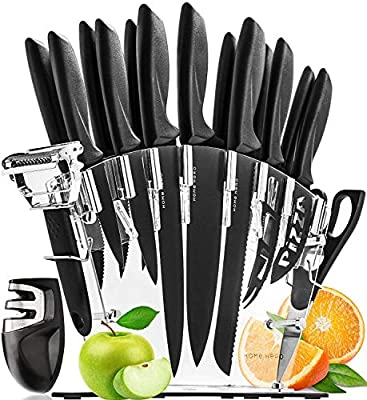 Kitchen Knife Set with Block - 13 Stainless Steel Kitchen Knives - Chef Knife Set with Knife Sharpener - 6 Steak Knives, Bonus Peeler Scissors Cheese Pizza Knife & Acrylic Stand - Set Gift