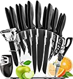 Kitchen Knife Set with Block  13 Stainless Steel Kitchen Knives  Chef Knife Set with Knife Sharpener  6 Steak Knives, Bonus Peeler Scissors Cheese Pizza Knife & Acrylic Stand  Set Gift
