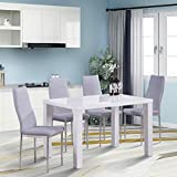 <span class='highlight'>GOLDFAN</span> <span class='highlight'>Modern</span> Rectangle <span class='highlight'>Dining</span> <span class='highlight'>Table</span> <span class='highlight'>and</span> <span class='highlight'>Chairs</span> <span class='highlight'>Set</span> High Gloss Kitchen <span class='highlight'>Table</span> with 4 Soft Grey Leather <span class='highlight'>Chairs</span> for <span class='highlight'>Dining</span> Room