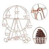 JUNGEN Supporto per Cupcake Ruota Panoramica in Metallo Party Rotatable Pasticceria Cupcake Holder con 8 Tazze Perniture Torta Stand Ricevimenti Matrimoni Decorazione (Oro Rosa)