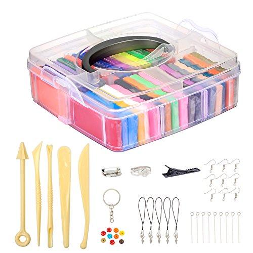 Meerveil Polymer Clay weichen Ton/Knetmasse/Plastilin Ofen backen Lehm Crafts Moulding Set Handwerk DIY Spielzeug mit Tragkoffer pädagogisches Spielzeug für Kinder (32 Farben)