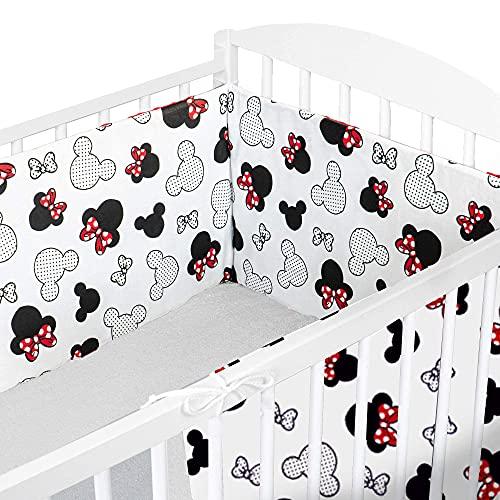 Cojin protector cuna 180 x 30 cm - chichonera bebe cuna Ratones en Blanco