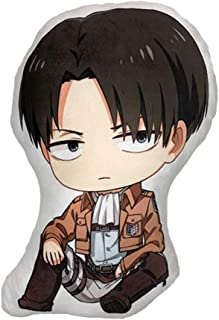 Bowinr Attack on Titan: Levi Ackerman Double-Sided Pattern Throw Pillow, 35x45CM Lovely Doll Toy Pillow for Anime-Fans(Levi)