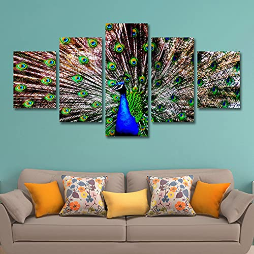 lienzo decorativo para pared 5 piezas de lona azul animal pavo real de pavo real cartel de lienzos impresiones arte decoración para el hogar para sala de estar Imagen de dormitorio enmarcado l