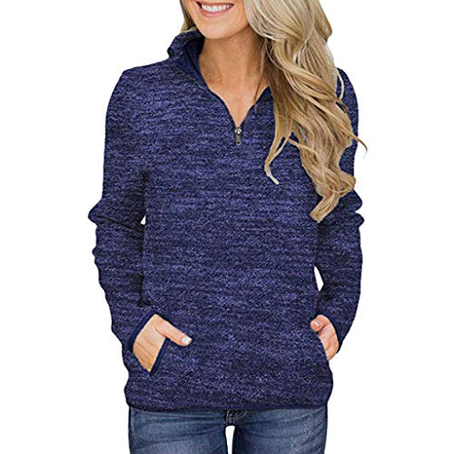 Best Prices! Women Half Zip Pullover Sweatshirt Blue Stand Collar Long Sleeve Blouse Casual Loose Fa...