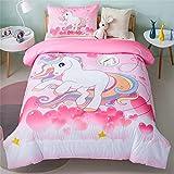 PHANTASIM All-Season Unicorn Rainbow Comforter Set Twin Size-Pink-Super Soft Microfiber Kids Bedding Set for Girls/Boys (1 Comforter with 1 Pillowcase)