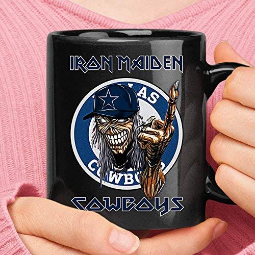 N\A Dallas Cowboy Iron Maiden Taza de fútbol de Metales Pesados para Acampar Viaje Taza de cerámica Botella de Agua