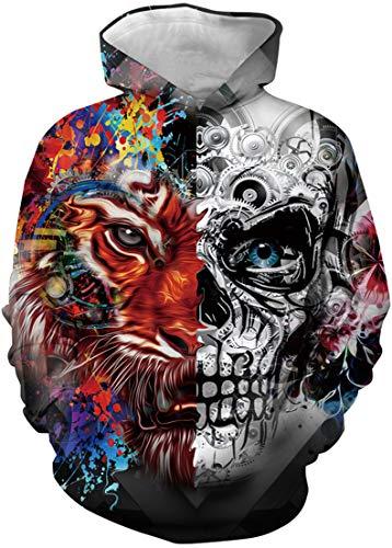 EUDOLAH Jungen Sweatshirts für 4-13 Alter Kinder Langarm 3D Druck Mehrfarbig Bunt Kids Herbst Winter Hemd mit Kaputzen Tiger und Schädel XL