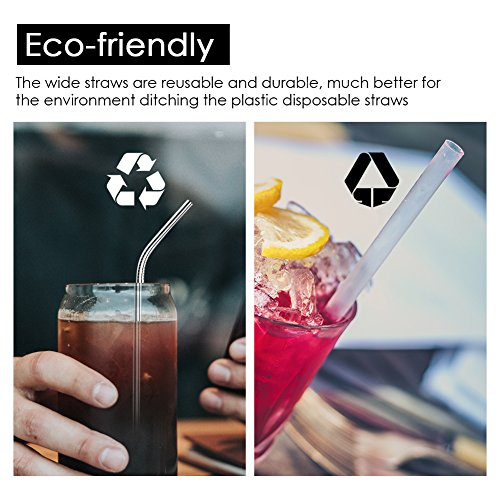 Ouway Stainless Steel Straws Reusable 8 Set, Metal Drinking Straws with 2 Cleaning Brush for Smoothie, Milkshake, Cocktail and Hot Drinks