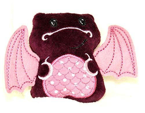 Kuscheltier Drache weinrot / lila / rose personalisierbar mit Initialen, Rassel, Quietscher Bio Nicki Baumwolle Geschenk zur Geburt