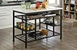 Industrial Style Kitchen Island & Cart (Counter), Marble Top, Metal Frame & Shelves, 4 Open Compartments