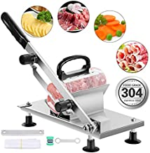 aingycy Frozen Meat Slicer Manual Hand Slicing Machine Stainless Steel Frozen Beef Mutton Bacon Meat cutter Vegetable Fruit meat cleaver for Home Kitchen and Commercial Use (Sliver-2)