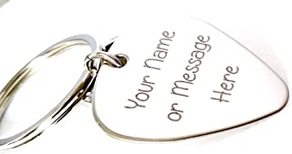 Guitar Pick - Custom Any Message - Personalized Keychain Stainless Steel Guitar Pick - Key Chain