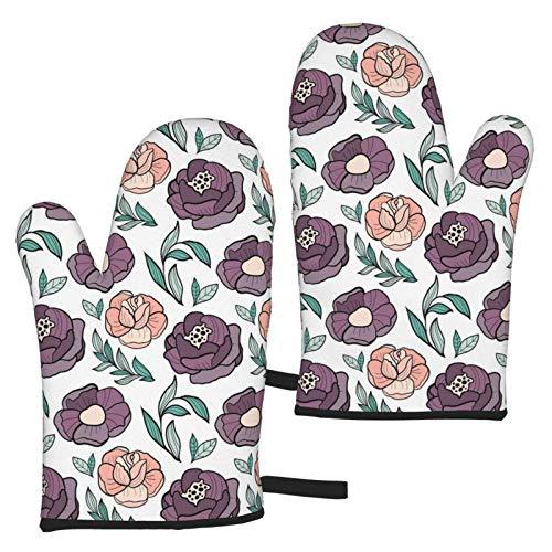 AEMAPE Roses Flower Oven Mitts 2pcs Guantes de microondas - Guantes de Horno Resistentes al Calor con asa Antideslizante para Colgar en la Parrilla para Hornear a la Parrilla