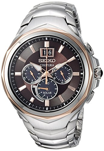 Seiko SSC628 Coutura Stainless Steel Brown Dial Men's Chronograph Watch