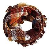 Wander Agio Womens Winter Head Hair Wraps Circle Scarves Warm Plaid Scarf Brown 5
