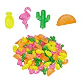 Relaxdays 10028644 - Cubos de hielo reutilizables (100 unidades, 4 formas divertidas, enfriador de bebidas falsas, fiesta de verano, multicolor, polietileno)