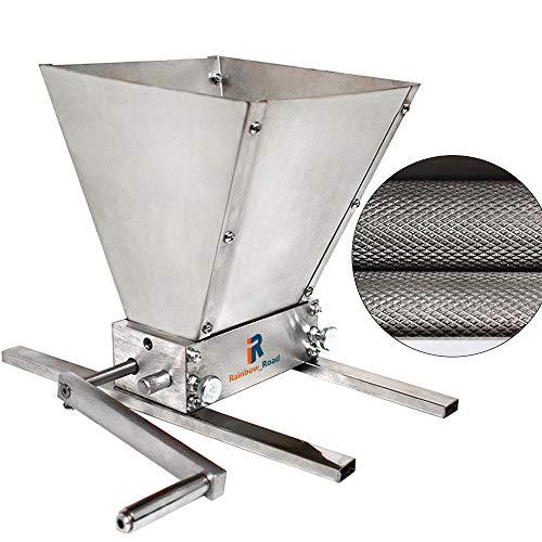 Broyeur d'orge Malt Moulin à Graines Céréales Concasseur de Manuel réglables 2 Rouleaux Pour la Accueil Brewing, Avec base en métal