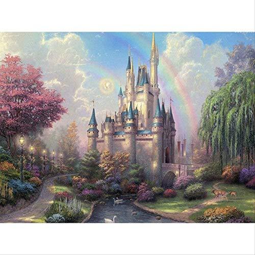 Hay pintura digital pintada a mano pintura de paisaje pigmento villa en la caja debajo del arco iris para colorear 40x50 cm