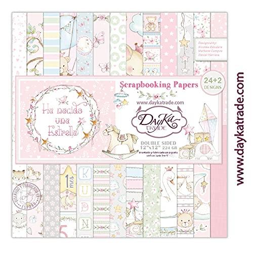 """Dayka Trade Set de Scrapbooking""""Ha Nacido una Estrella"""", niña, 24+2 diseños de papeles 12x12 pulgadas (30,5x30,5 cm)"""