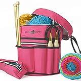 Designer Stitch Happy Knitting Starter Kit: 20 Piece Knitting Kit for Beginners & 7 Pocket Yarn Bag, Signature Yarn Storage - Fuchsia