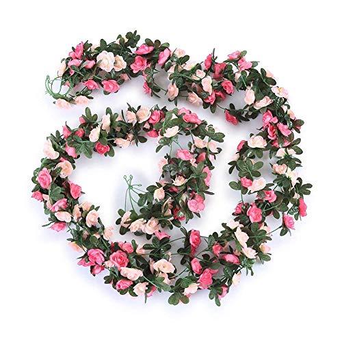 Rose artificiali, fiori artificiali in seta, ghirlande a forma di rosa, per casa, hotel, ufficio, feste, giardino, 2,5 m, 5 pezzi