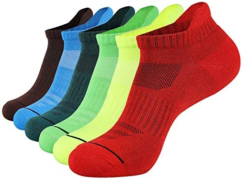 JOYN E Mens Ankle Athletic Low Cut Socks Running Sports Cushioned Sock for Men 6 Pack Colorful product image