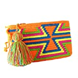 Bolso de mano para mujer Half Moon étnico Hobo bolso de muñeca, Orange (Naranja) - WAYUU MINI CLUTCH ORANGE
