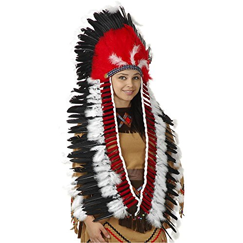 Charades Native American Inspired Costume Headdress with Trailer, One Size