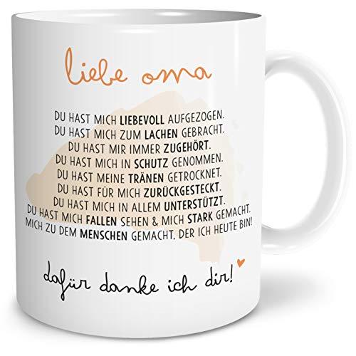 OWLBOOK Danksagung Oma Große Kaffee-Tasse mit Spruch im Geschenkkarton Geschenke Geschenkideen für Oma zum Geburtstag