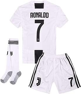 Juventus #7 Ronaldo 2018-2019 Season Home Kids or Youth Soccer Jerseys & Shorts & Socks White/Black