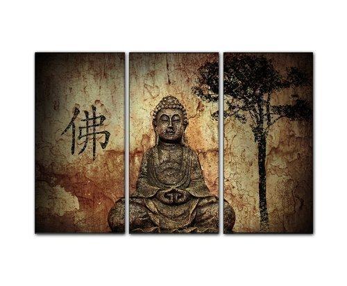 3 teiliges Wandbild Gesamtmaß 130x80cm (Buddha 3x40x80cm) auf echter Leinwand gerahmt traumhafte Wand deko über Ihrem Sideboard Bilder fertig gerahmt auf Keilrahmen xxl. Kunstdruck auf Leinwand. Günstig inkl Rahmung