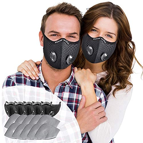 SOKERDY Sports Masks 5Piece with10PCS Filters Net Breathable & Comfortable Dust Masks Washable Reusable Masks Balaclava Mask Black